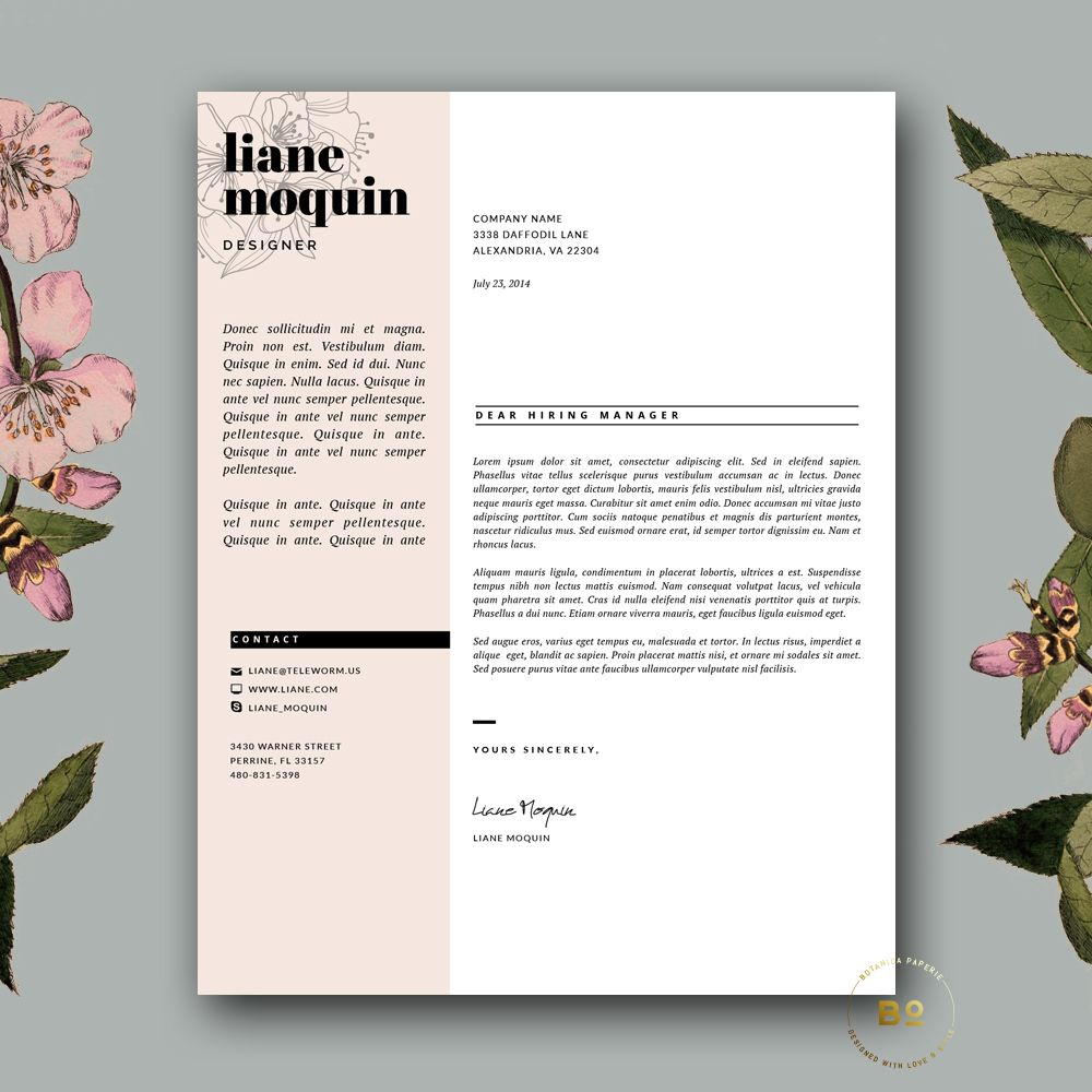 Feminine CV Template for Word by Botanica Paperie on