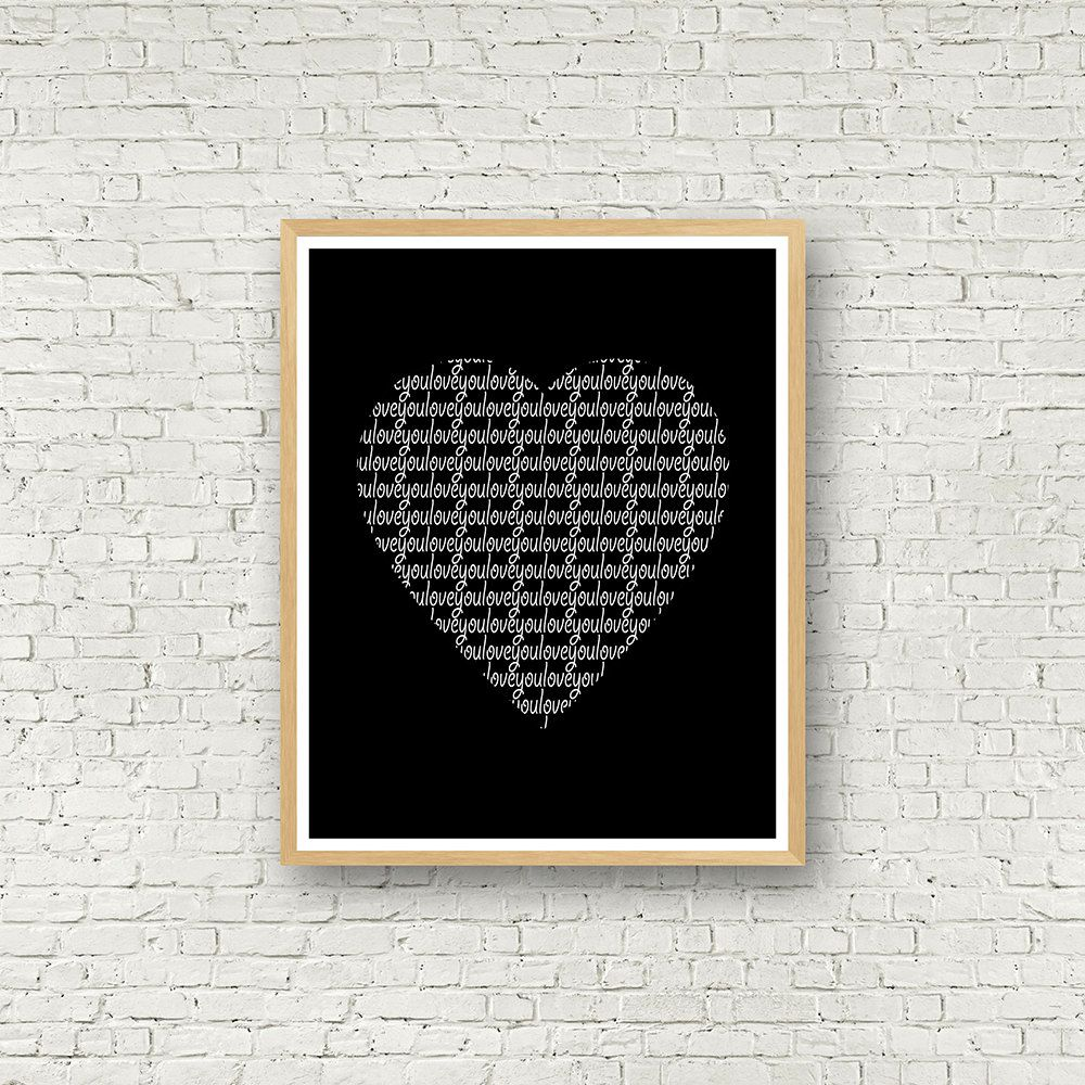 love you coeur noir et blanc love wall art blanc et noir