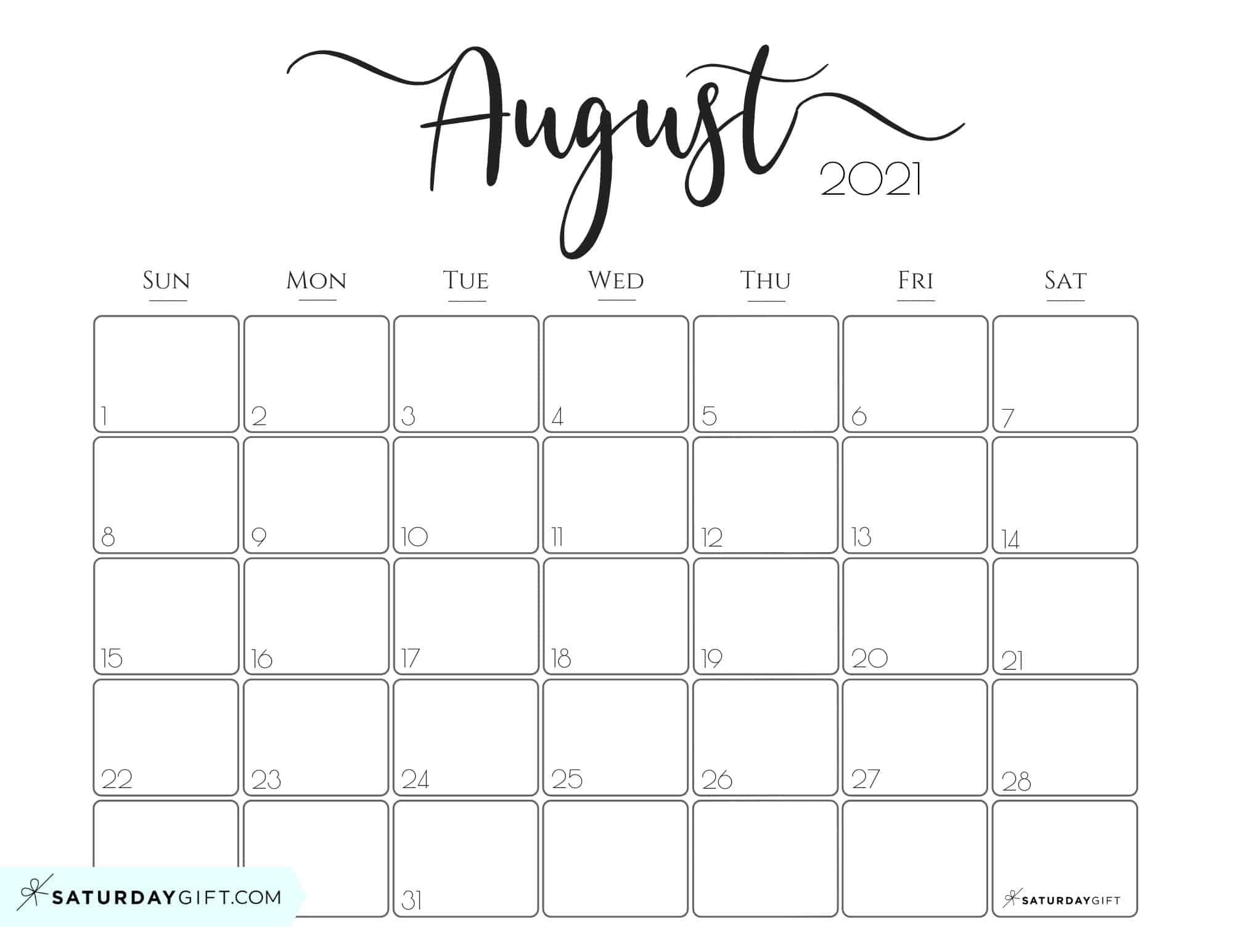 Monthly Calendar 2021 August Elegant 2021 Calendar by SaturdayGift   Pretty Printable Monthly