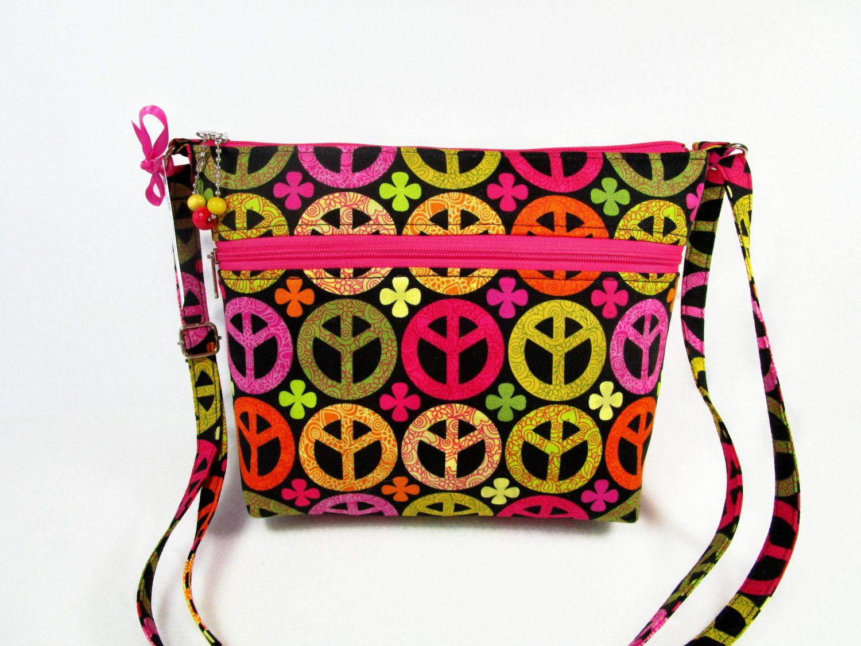 Peace Signs Handmade Fabric Purse / Cross Body Handbag by DarlingsDesigns on Etsy