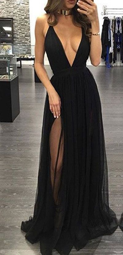 48340231f7 Sexy Deep V Neck Prom Dress