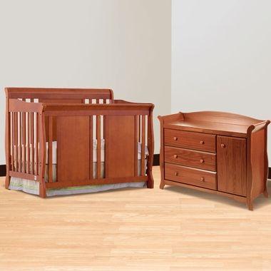 Storkcraft Cognac Verona Convertible Crib And Aspen Combo Dresser Changer 2 Piece Nursery Set Free Shipping