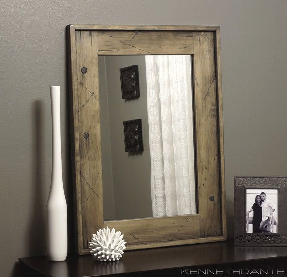 Wood mirror bathroom weathered distressed with antique - White wood framed bathroom mirrors ...