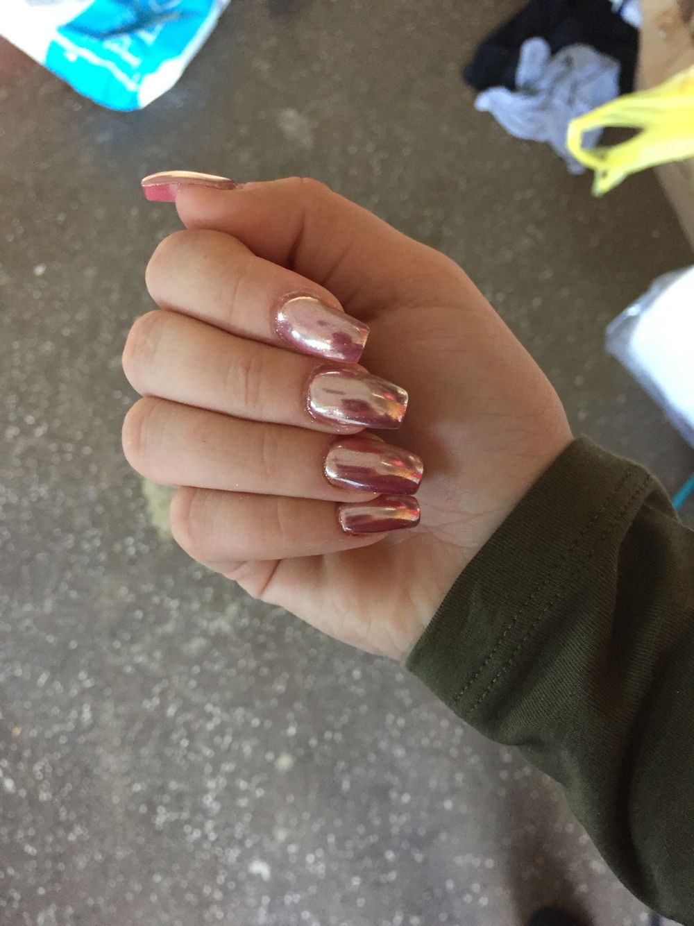 Rose gold chrome nails | Nails | Pinterest | Nagelschere und Nageldesign