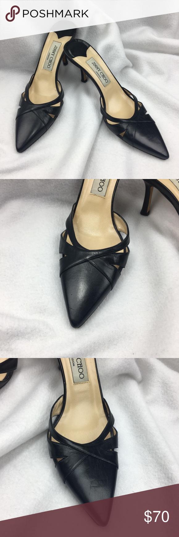 Jimmy Choo Black Kitten Heels Black Slide On Leather Shoes With A Short Kitten Heel Runs Narrow They Have Some Shal Black Kitten Heels Heels Jimmy Choo Heels