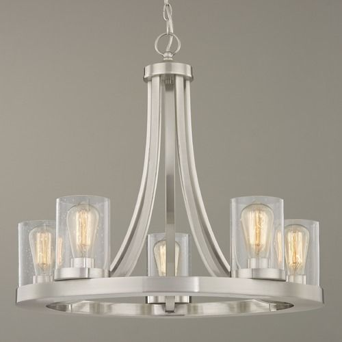 Industrial Seeded Glass Chandelier Satin Nickel 5 Lt Glass Chandelier Industrial Chandelier Transitional Lighting Fixtures