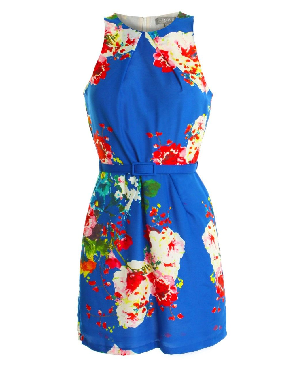 Blue placement print dress