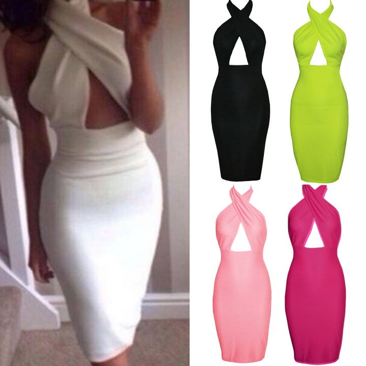 Black Sleeveless Hollow Chest Backless Bodycon Going Out Dress
