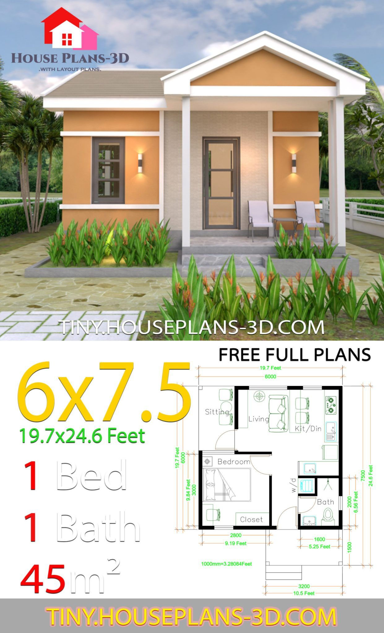 One Bedroom House Plans 6x7.5 with Gable Roof in 2020 ...