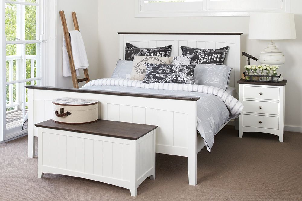 Jessica Bed Suite   Chic Combination Of Dark Wood Trim And White Panel  Woodwork. Available