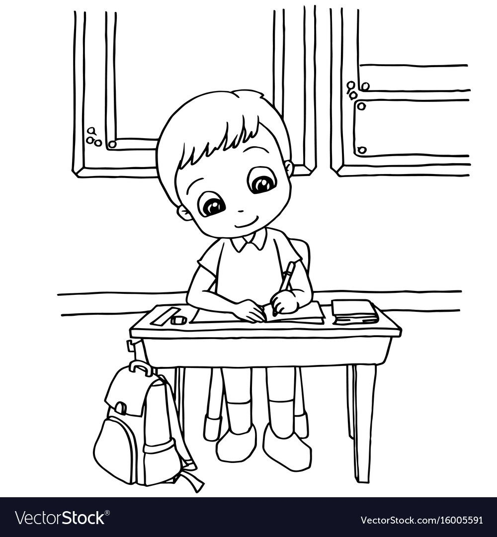 Kids Do Homework In Class Cartoon Coloring Page Vector Illustration Download A Free Preview Cartoon Coloring Pages Coloring Pages Family Activities Preschool