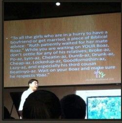 Pastor teaching about relationships...