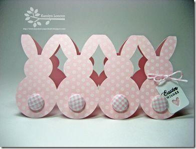 handmade card row of pink polka dot bunnies like paper dolls
