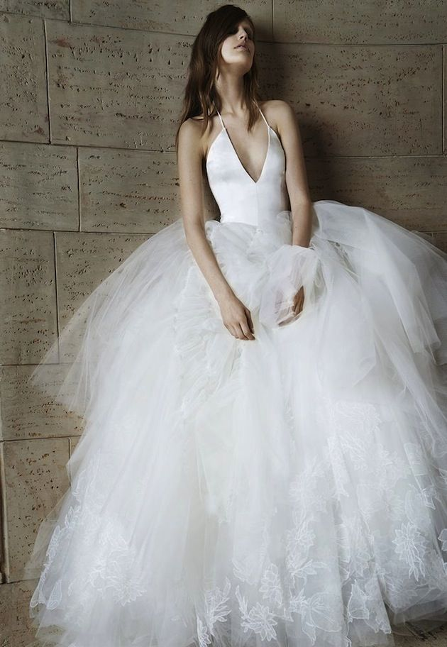 17ea78d640d8 plunging halter neck and romantic tulle skirt. Vera Wang Wedding Dress  Collection for Spring ...