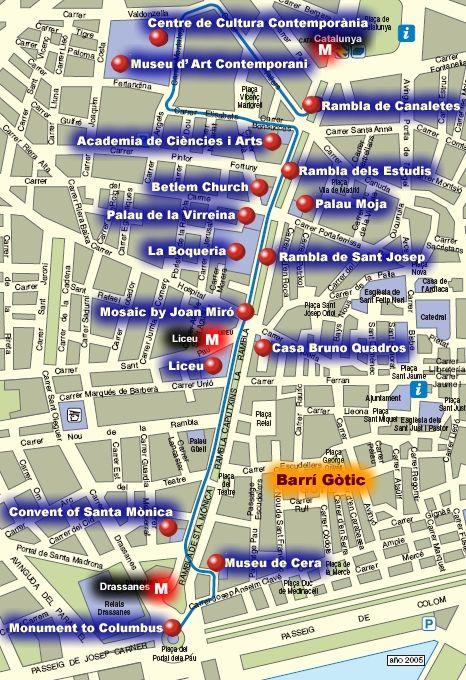 Carte Barcelone Las Ramblas.La Rambla Map Tapas In 2019