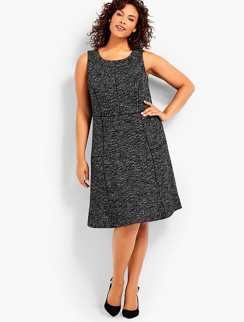Sleeveless Berkeley Tweed Fit Amp Flare Dress Talbots Wear To Work Dress Clothes For Women Fit Flare Dress [ 1057 x 800 Pixel ]