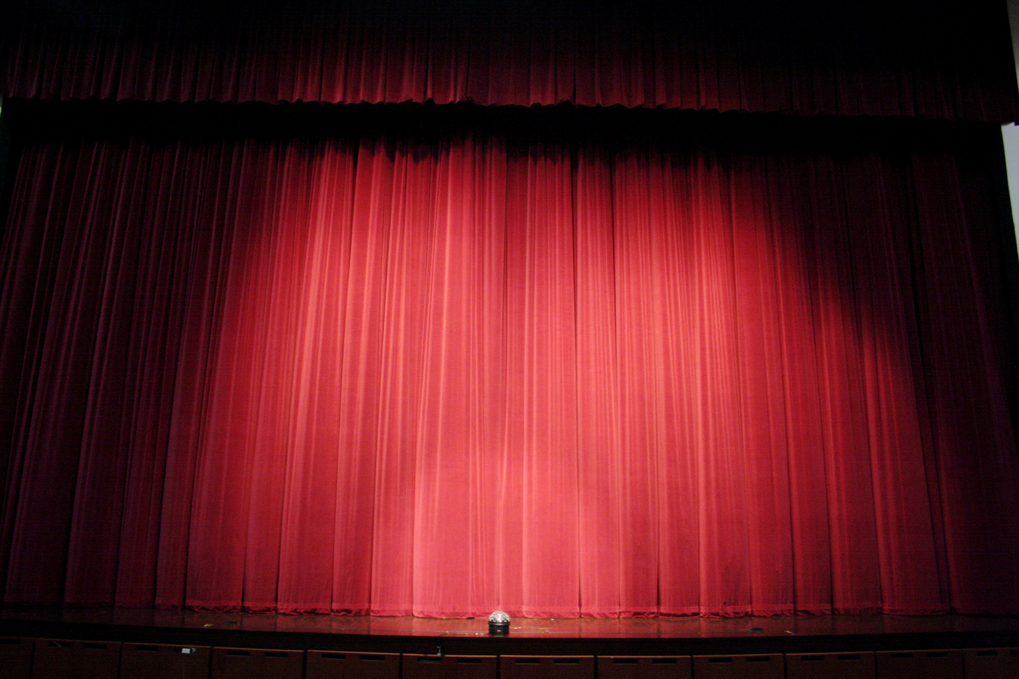 behind curtain made curtains wood velvet old columns red in stock the photo