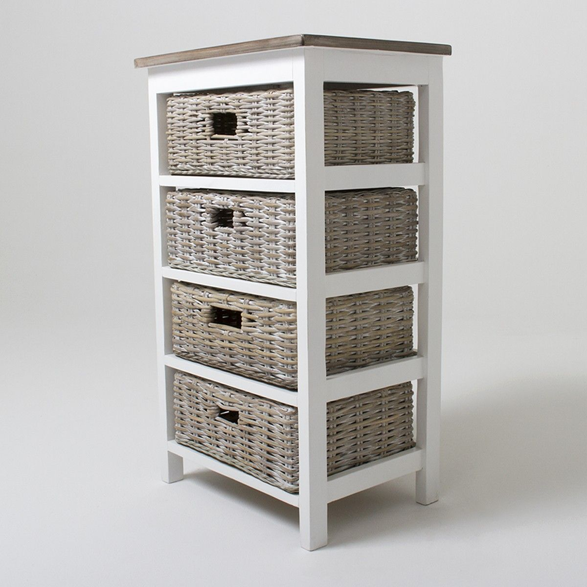 Storage Cabinet With Wicker Baskets Bay Four Basket Storage