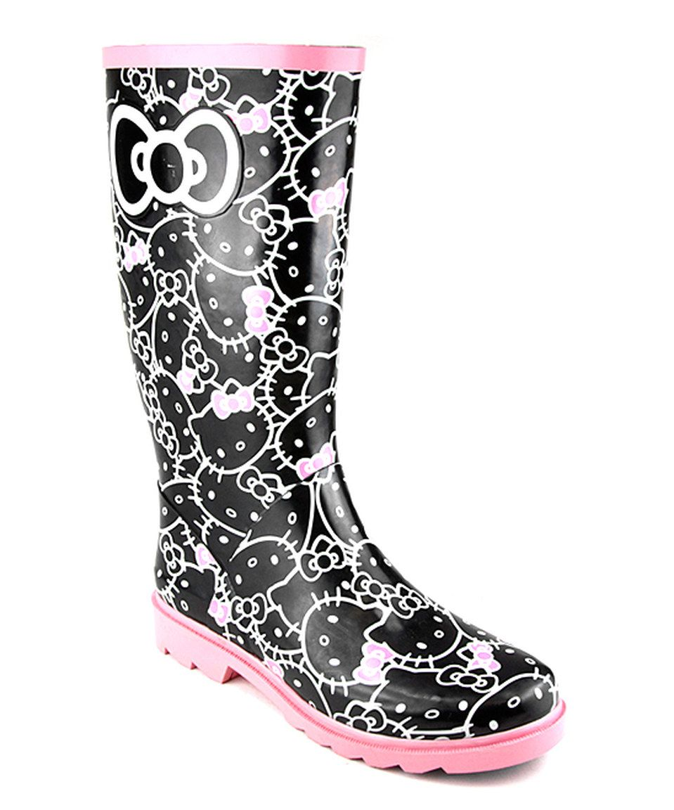 Hello Kitty Black & Pink Hello Kitty Tallalah Rainboot by Hello Kitty #zulily #zulilyfinds