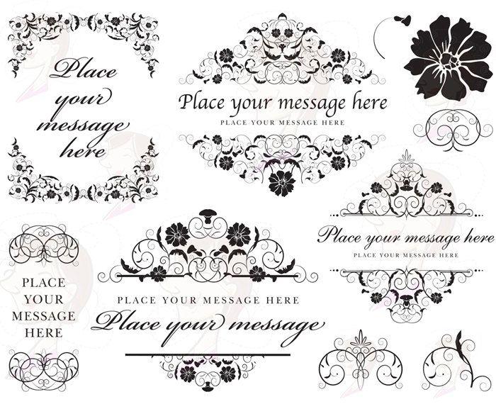 Floral Border Frame Clipart Flourish Vintage Flowers COMMERCIAL ...