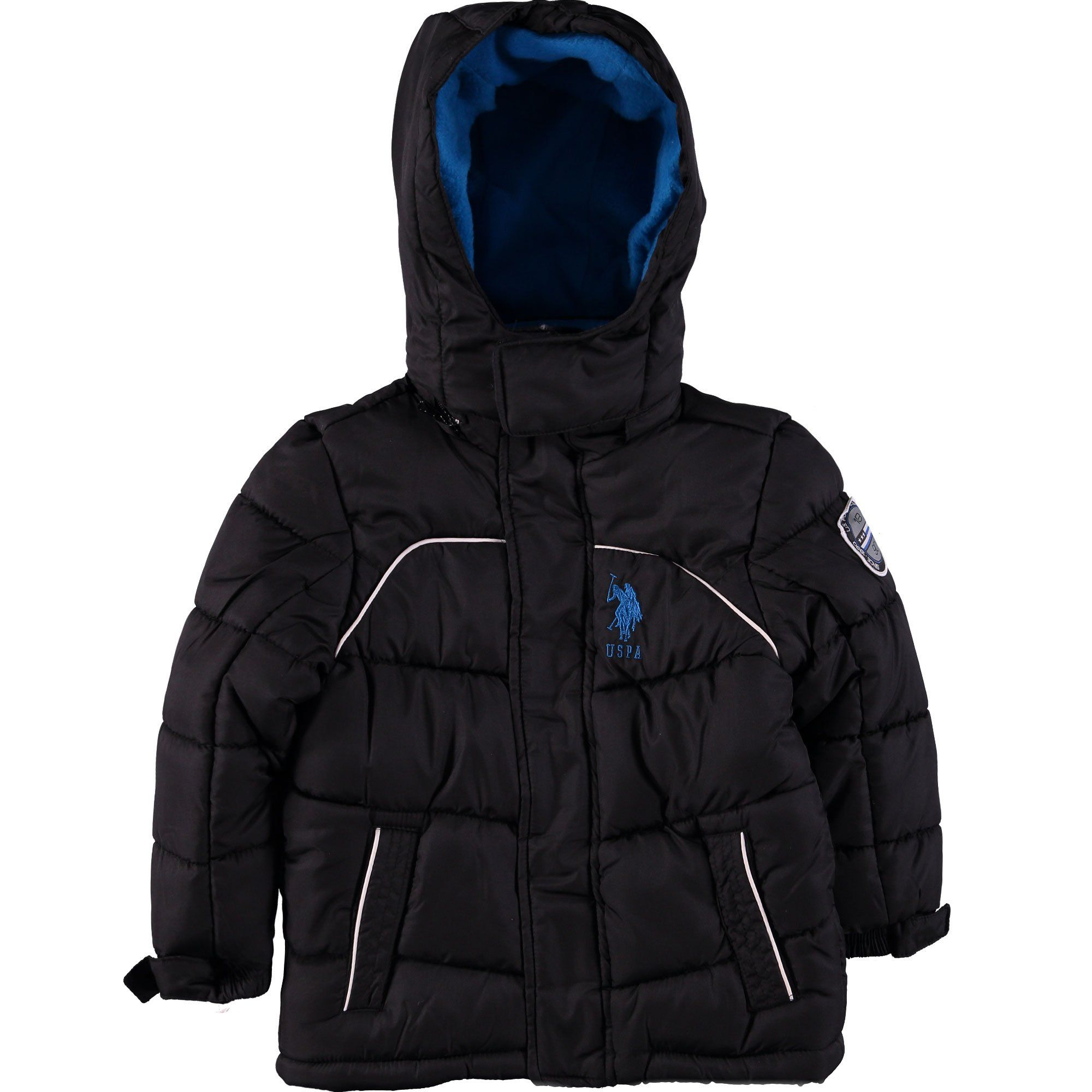 U S Polo Association Little Boys Contrast Logo Bubble Jacket 5 6 Black Removable Zipper Hood Zip Front Closur Polo Association Sweatshirts Women Jackets [ 2000 x 2000 Pixel ]