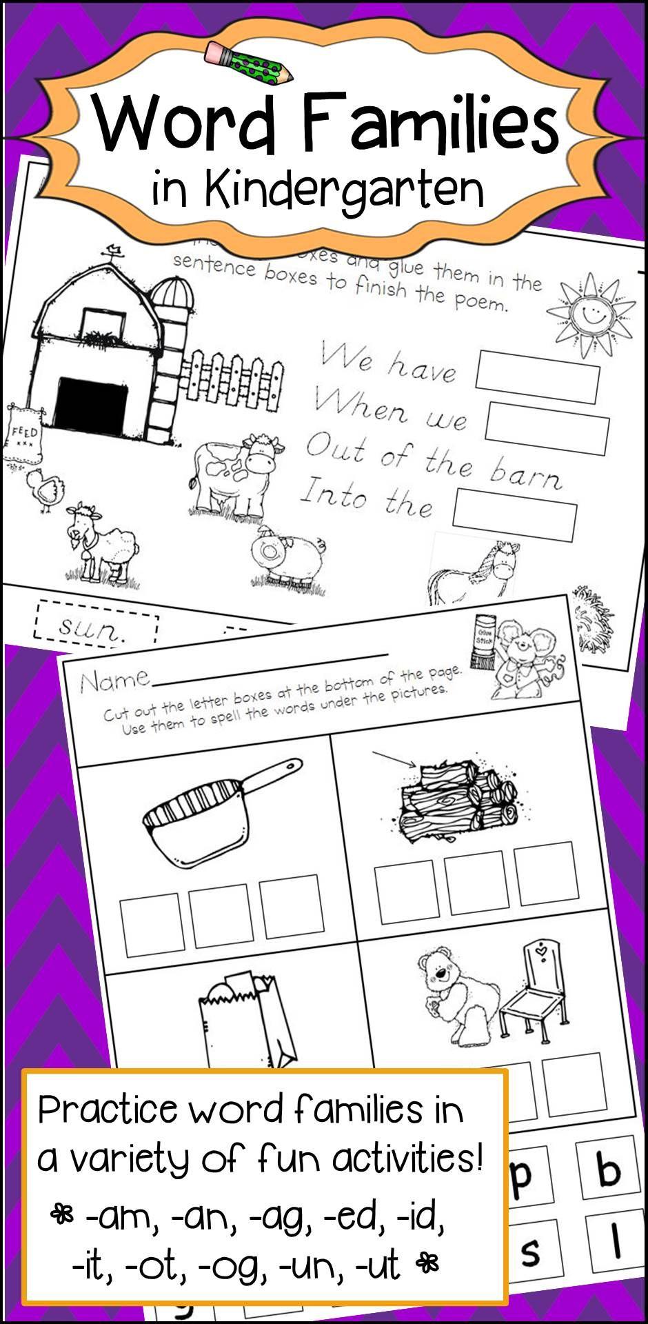 Word Families Activities For Kindergarten Word Family Activities Kindergarten Reading Activities Word Families [ 1920 x 940 Pixel ]
