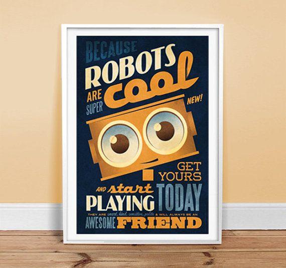 Roboter sind coole Poster 24 x 36 Vintage von twenty21onecreative ...