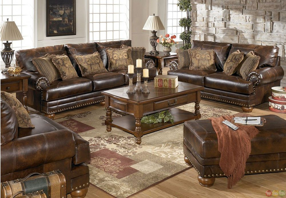 traditional living room furniture sets decor for brown bonded leather sofa loveseat set pillows nailheads signaturedesignbyashley