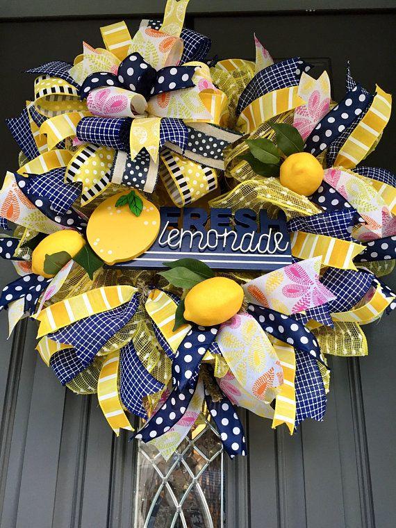 Photo of Lemon wreath, lemonade wreath, summer wreath, yellow and navy wreath, summer door wreath, front door wreath