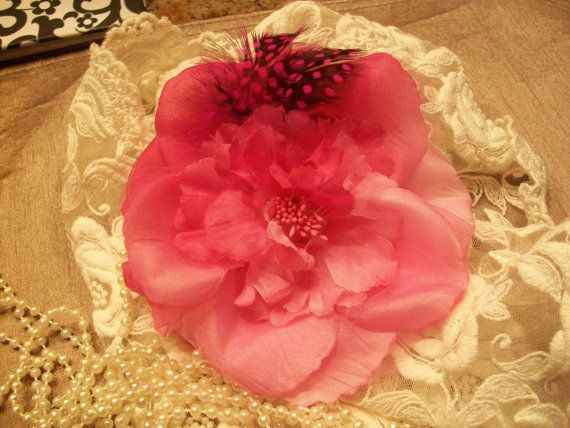 French Inspired Three Way Flower With Feathers by TheEiffelTeaRoom, $4.00