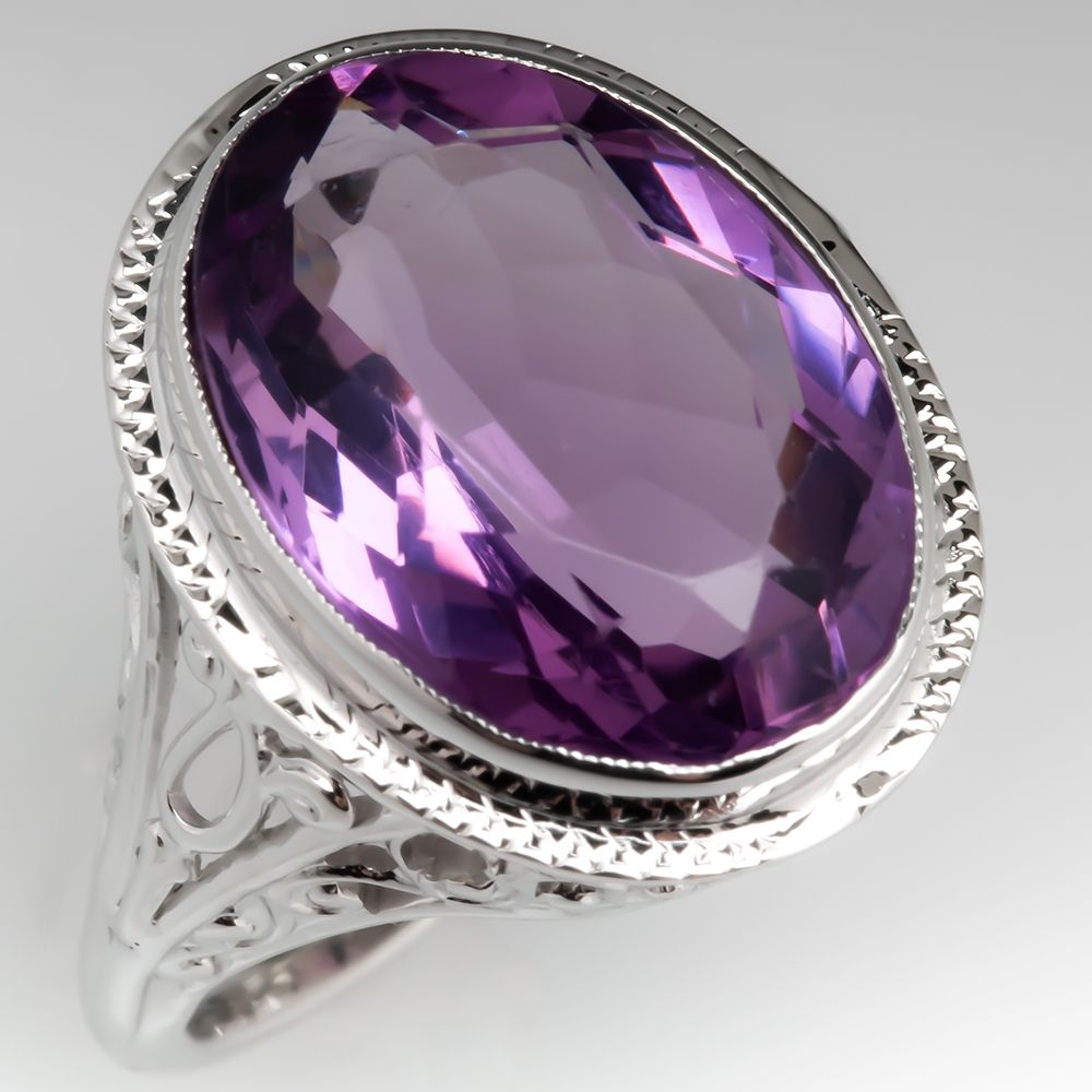 purple amethyst ring February birthstone ring oval cocktail ring vintage silver ring