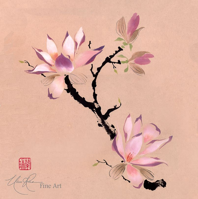 The Chinese Magnolia Touched By An Angel Original Brush Painting By Nan Rae Chinese Painting Flower Art Floral Painting