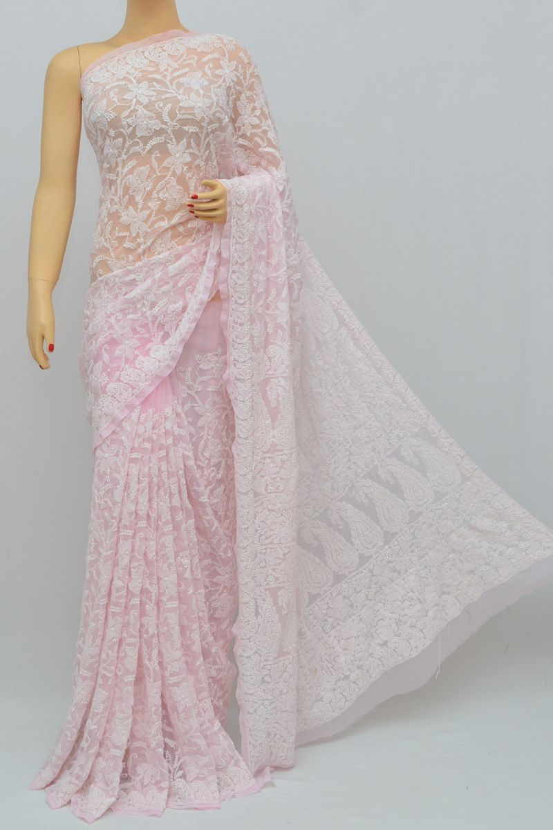 521630b835 Baby Pink Color, Allover Jaal Heavy Palla Hand Embroidered Lucknowi  Chikankari Saree (With Blouse - Georgette) MY250331