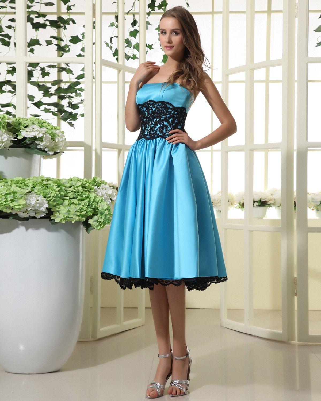 Sky blue lace dress strapless over knee sky blue bridesmaid dress