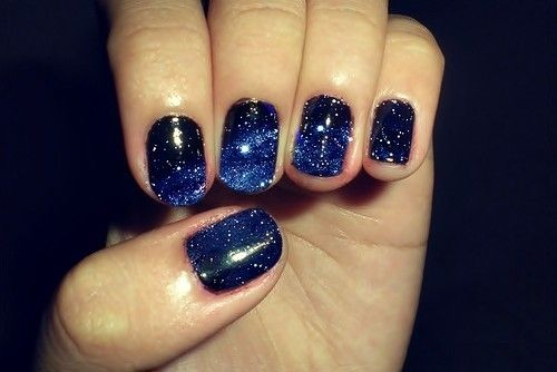 night sky on your nails! paint nails black, take a ripped make-up sponge and sponge on blue towards the tips, take a toothbrush with white paint and flick onto nails!