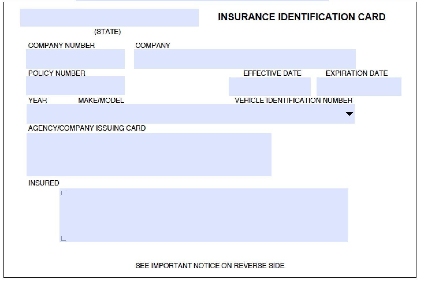 Auto Insurance Id Card Template On Auto Insurance Card