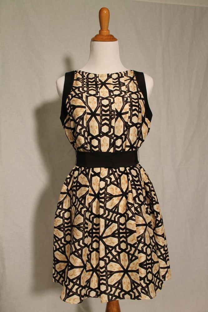 3d88c56095 LAUNDRY Shelli Segal Black  amp  Gold Fleur de Lys SILK Party Dress MARDI  GRAS NWT