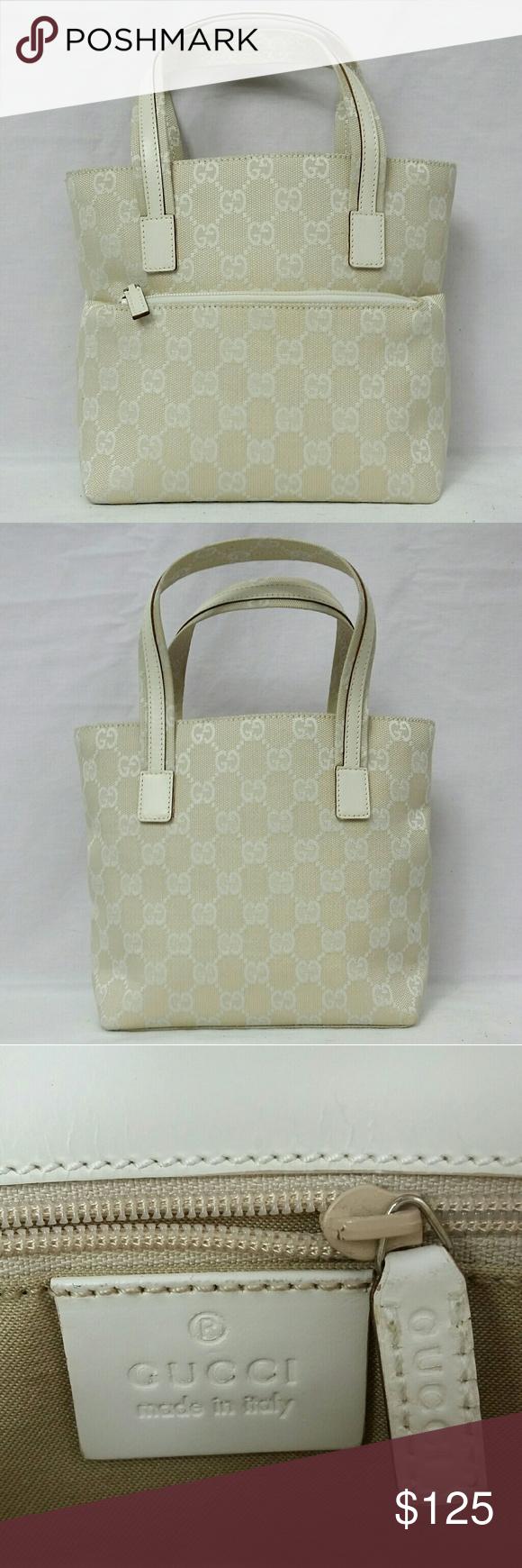 a30234a05b5 Gucci Tote Bag Ivory White Guaranteed 100% Authentic Gucci ~ Small canvas  tote bag.