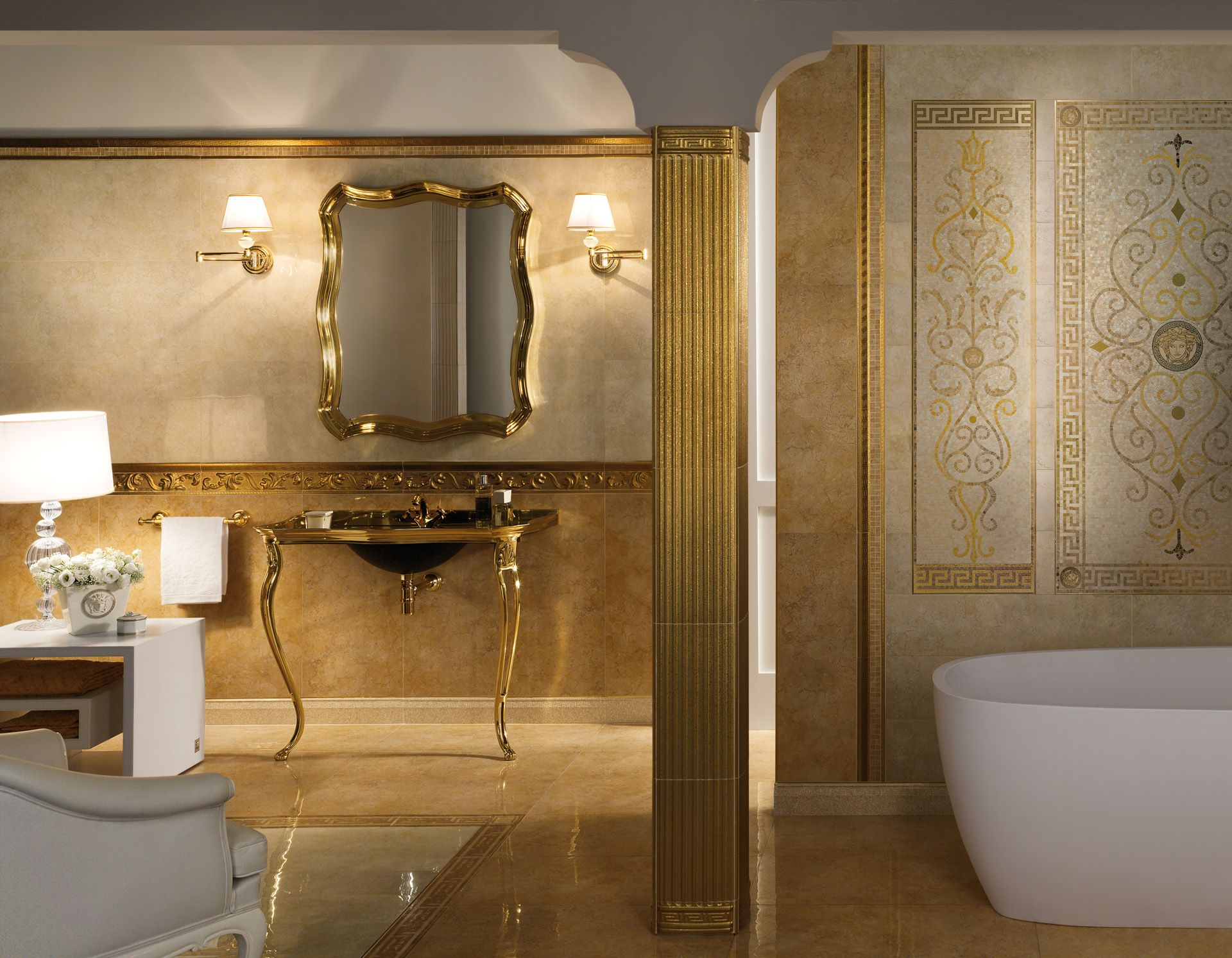 or gold carrelage exclusive versace salledebain bathroom