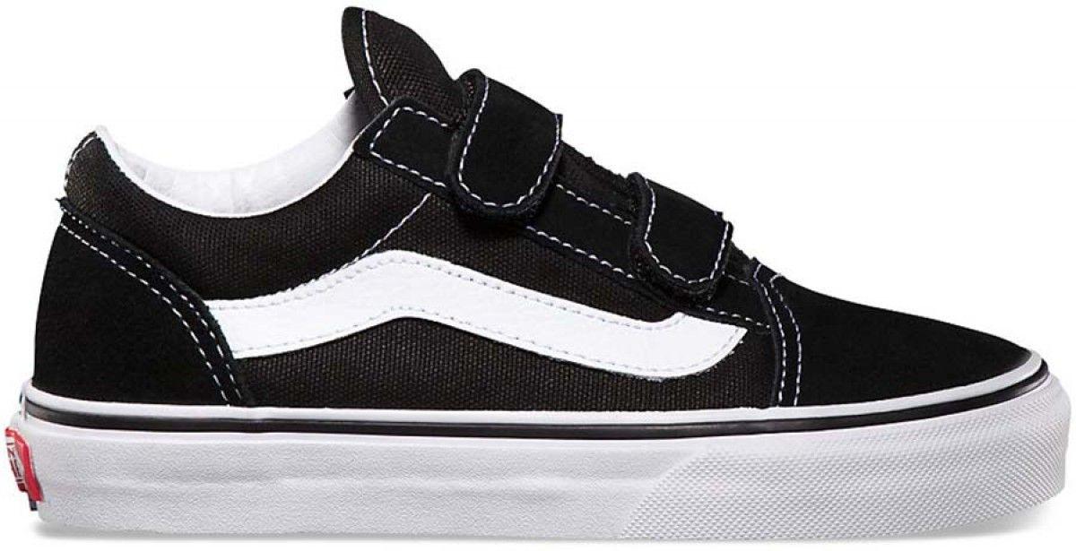 a55ee1742b Vans Kids Old Skool Velcro Black True White