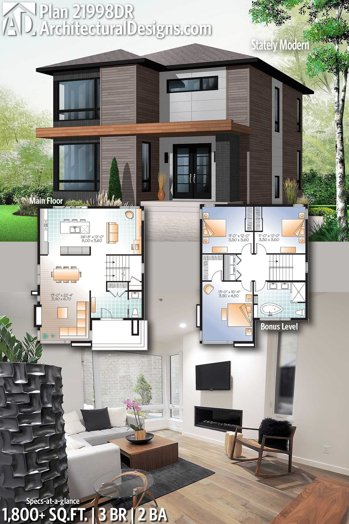 Architectural Designs Modern Home Plan 21998dr With 3 Bedrooms 2 Full Baths In 1 21998dr Arch Modern House Plans Modern House Design Modern Houses Interior