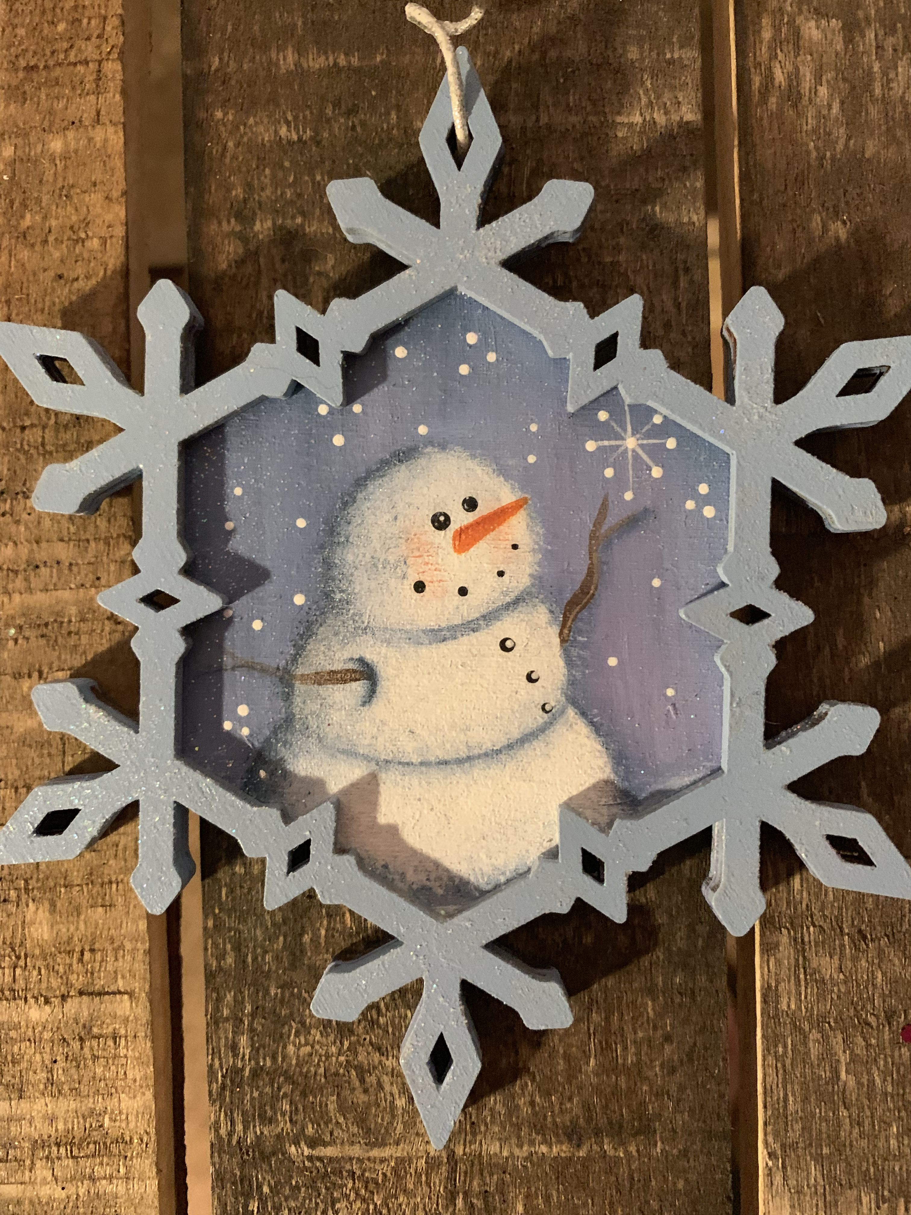 Hand Painted Snowman Snowflake Ornament Etsy Snowman Painting Snowflake Ornaments Ornaments