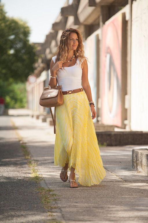 7edf7261bc0e1 Lovely pleated yellow skirt! Club Monaco pleated maxi skirt