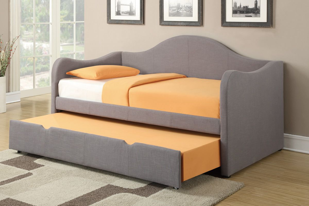 Poundex Grey Fabric Kids Twin Day Bed with Trundle