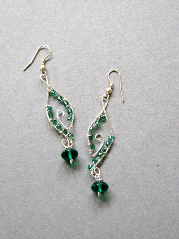 Handmade Wire Wrapped Earrings, Green Dangles, Handmade Jewelry