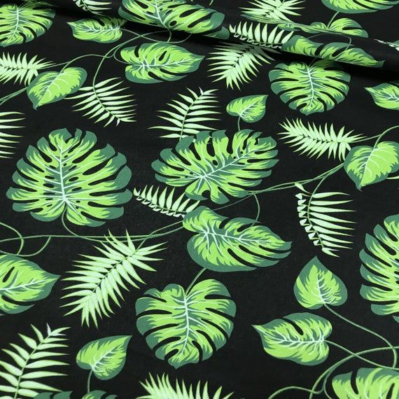 Monstera leaf cotton fabric by the yard, Jungle nursery decor, Tropical pattern, Palm leaf ornament, Kids fabric, Monstera on black #tropicalpattern