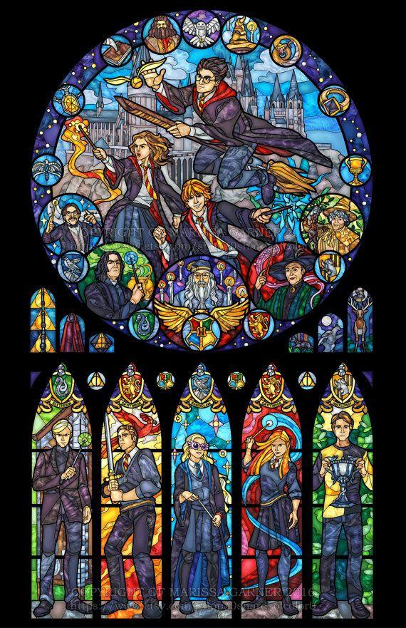 Ähnliche Artikel wie Halbe Größe - Harry Potter gebeizt Glas Abbildung auf Etsy #windows10