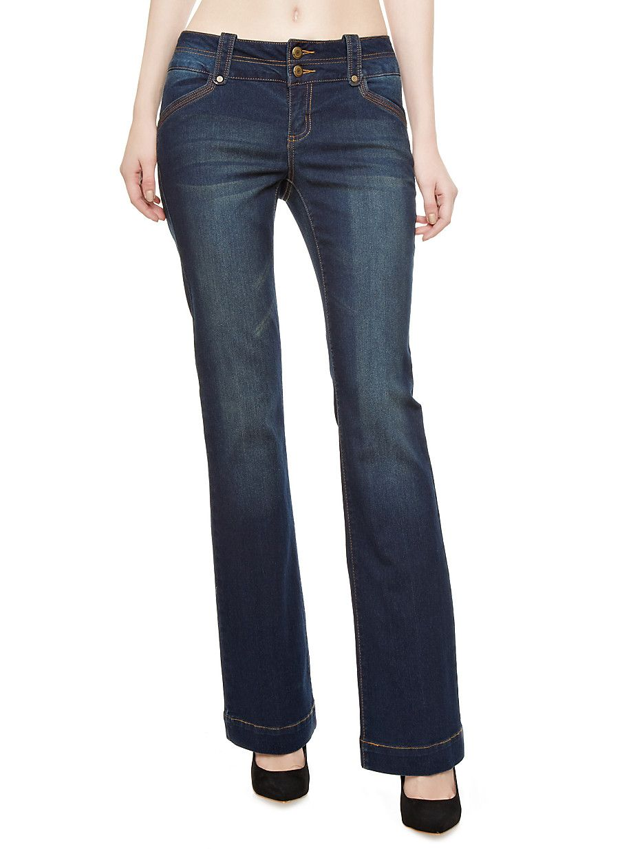 7226730ddc6 Rainbow Double Button Faded Dark-Wash Jeans With Flap Pockets ...