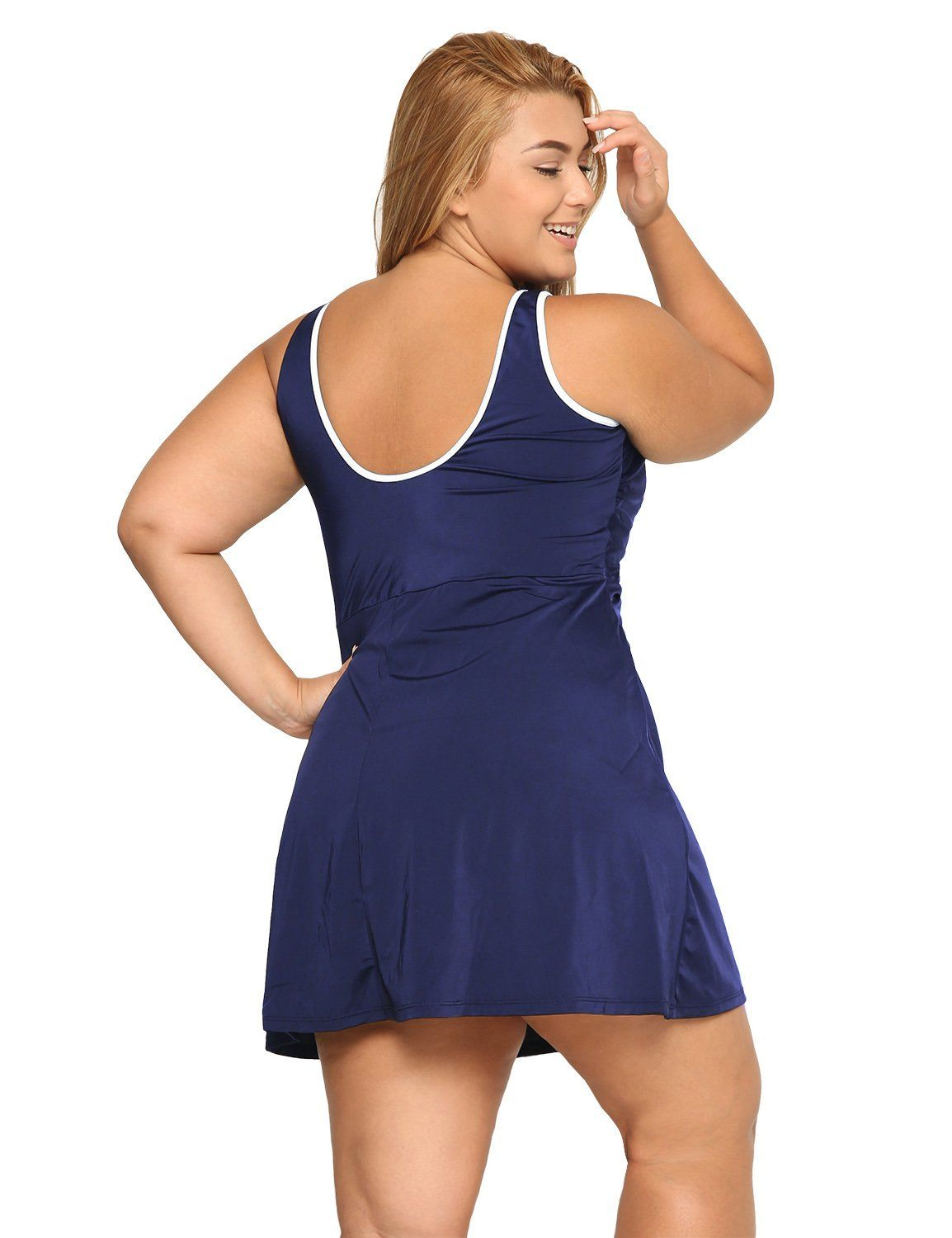 b5fb5e1c2b Delimira Womens One Piece Zip Front Skirted Bathing Suits Swimdress Swimsuit  Navy US 46 -- To view further for this item, visit the image link.
