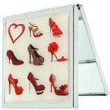 'A Girl Can Never Have Too Many Shoes' Red 2x Magnification Square Compact Mirror